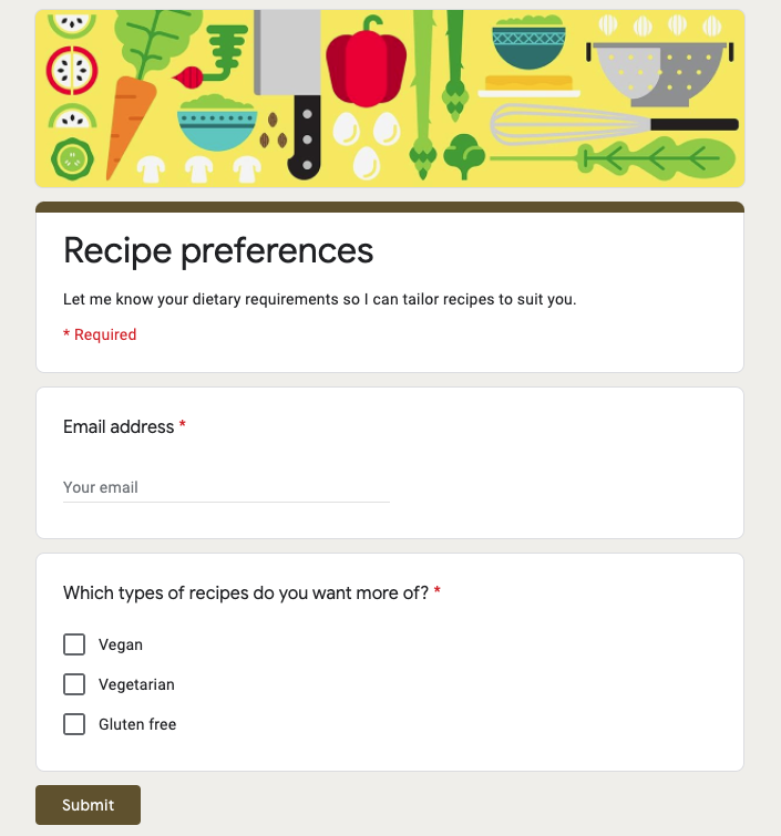 Screenshot of a sample Google Form used to collect subscriber data