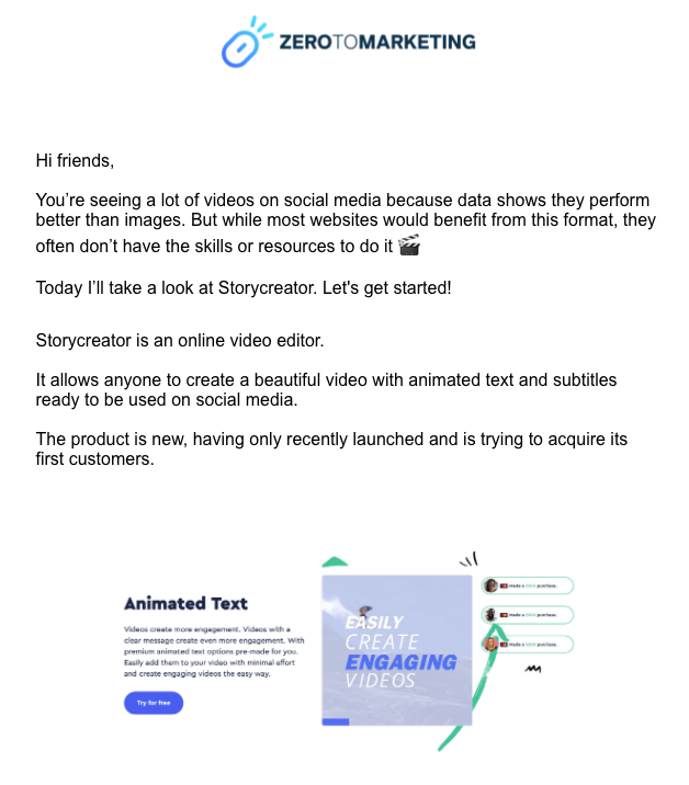 Screenshot of the intro from one of Zero to Marketing's case study emails