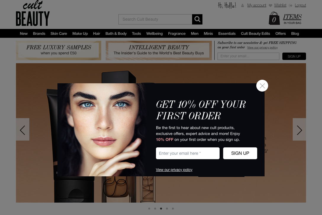 Example of the opt in form used on the Cult Beauty website. It shows you how to do a single opt in form well.