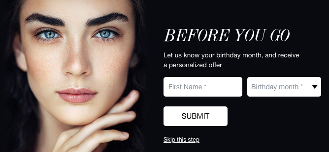 Screenshot of the second step in Cult Beauty's single opt in sign up process.