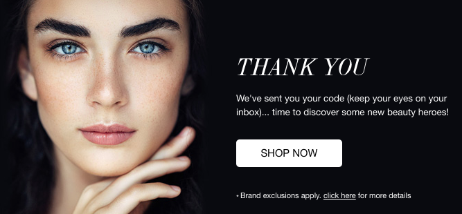 Screenshot of the final message in Cult Beauty's single opt in sign up process
