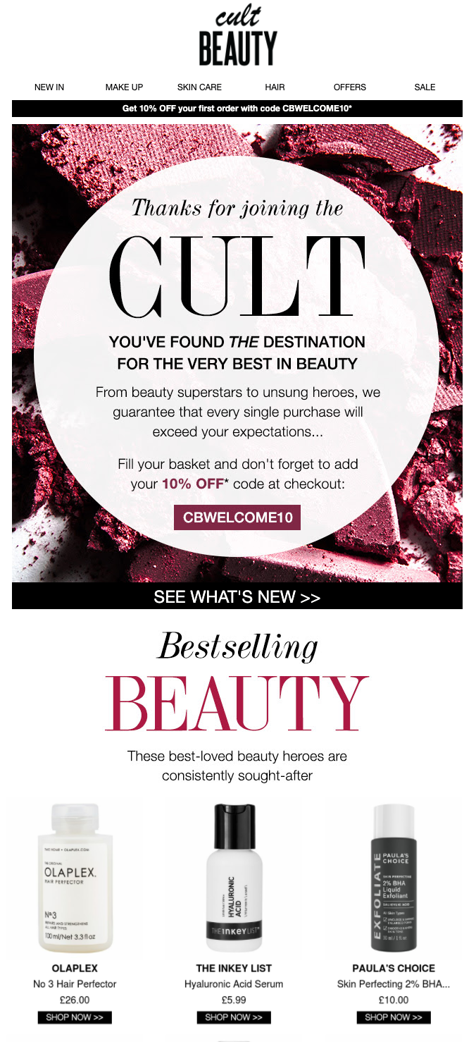 Top portion of the welcome email sent by Cult Beauty after website visitors have signed up via single opt in