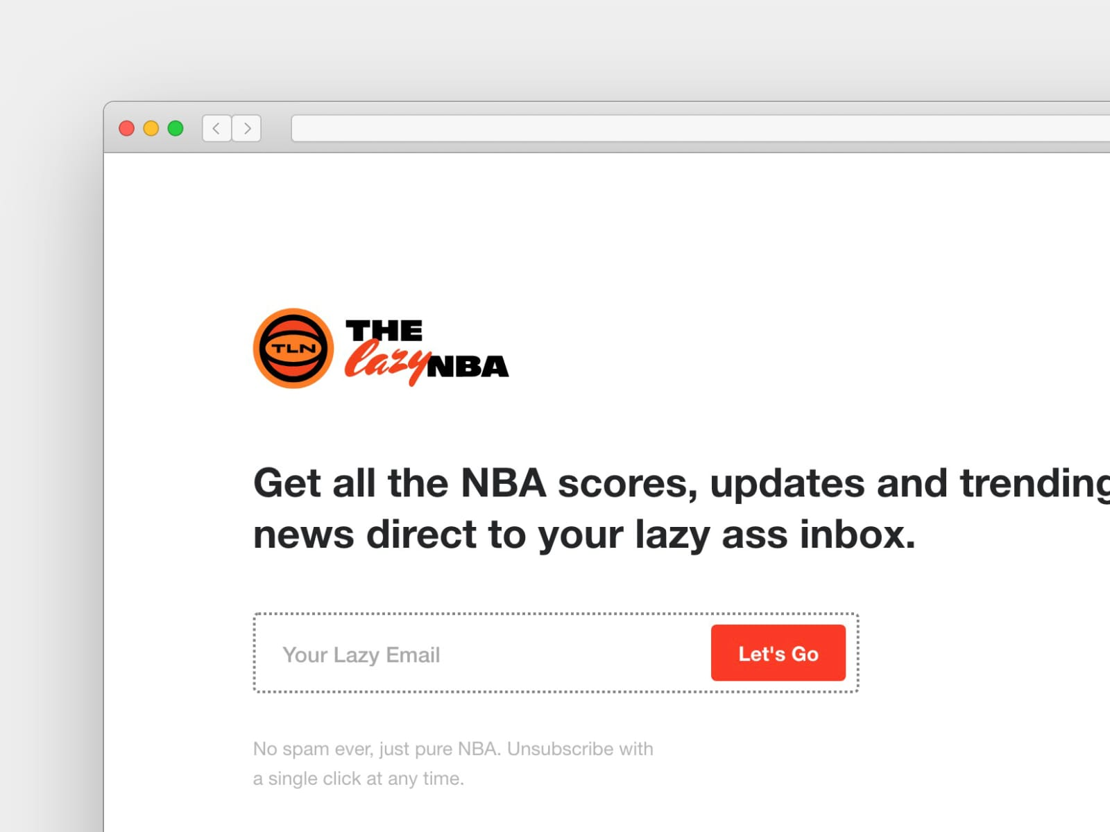 An example of a newsletter landing page with the sign up form positioned above the fold