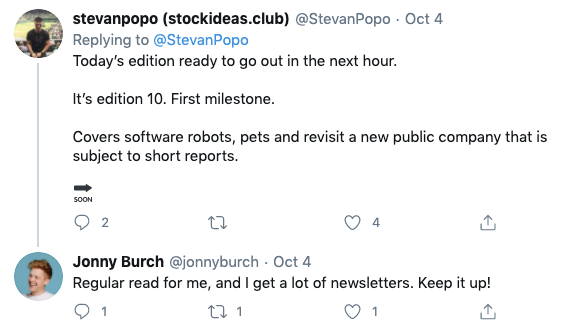 Screenshot of a Tweet from a subscriber of StockIdeas.club