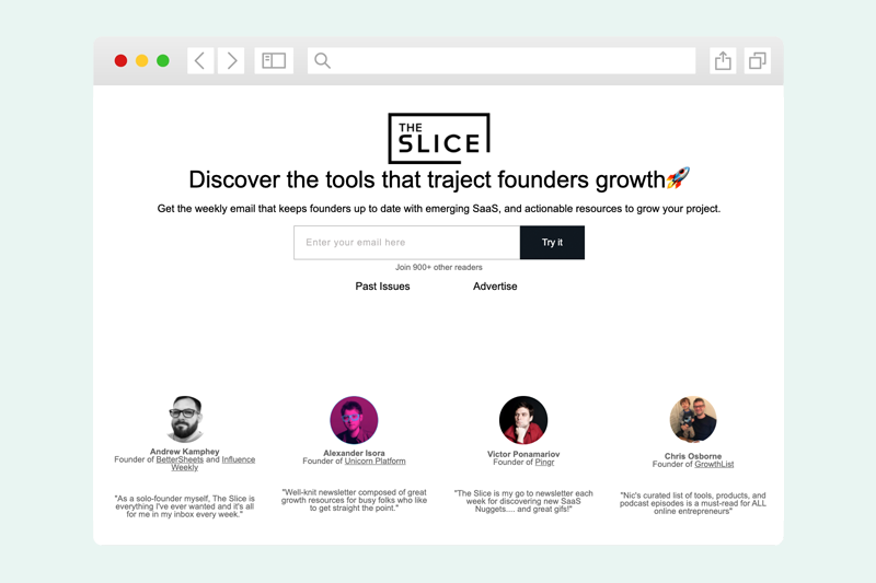 Screenshot of The Slice newsletter sign up form