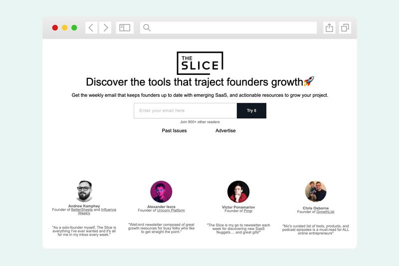 Screenshot of The Slice newsletter sign up form