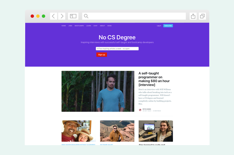 The No CS Degree website homepage