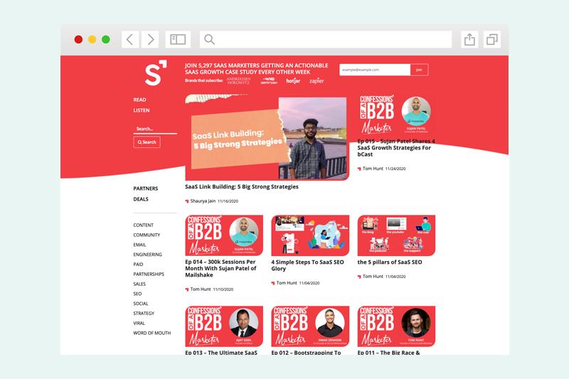 Screenshot of the SaaS Marketer blog