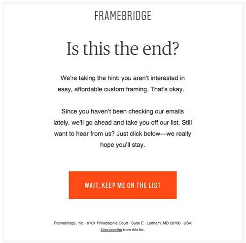 Example of a final warning email in a re-engagement campaign from Framebridge