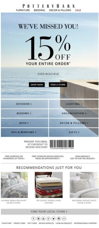 Example of a promo code sent as part of a re-engagement campaign from Pottery Barn