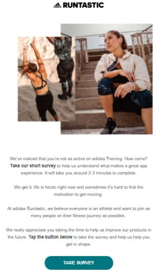 Example of a survey email used in a re-engagement campaign by Runtastic