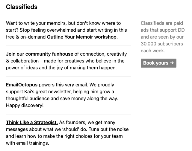 Screenshot of the classified ads section in Dense Discovery – an example of how to get sponsors for your newsletter