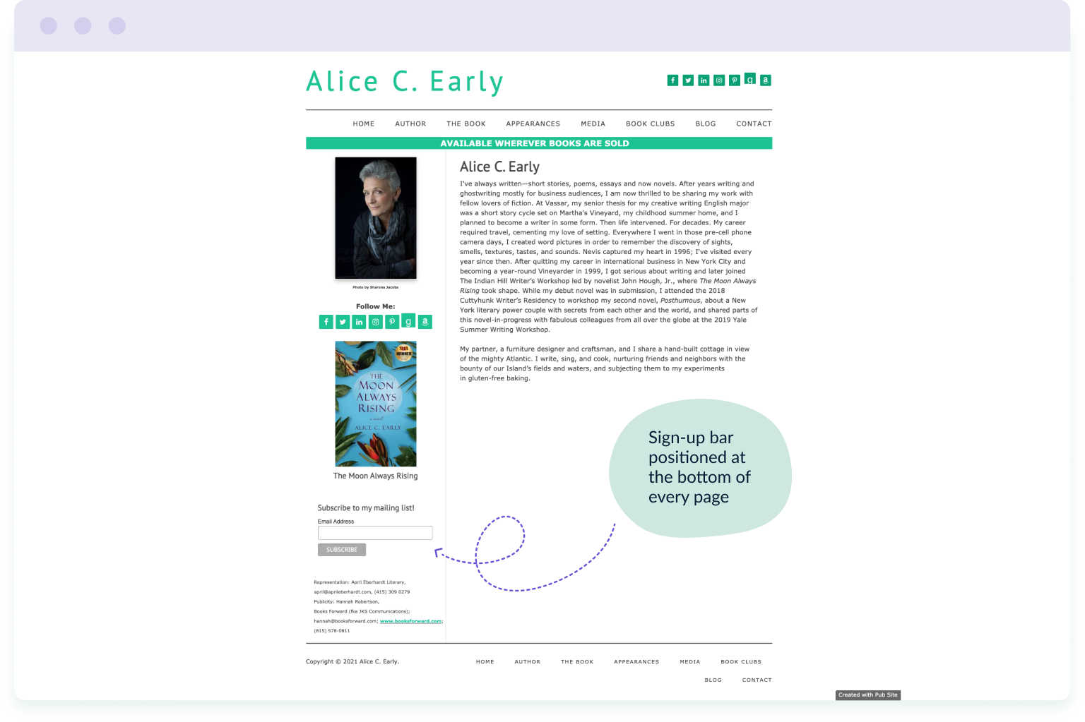 Example of a sign-up bar used on every page of author Alice Early's website – an important step in building an author's email list