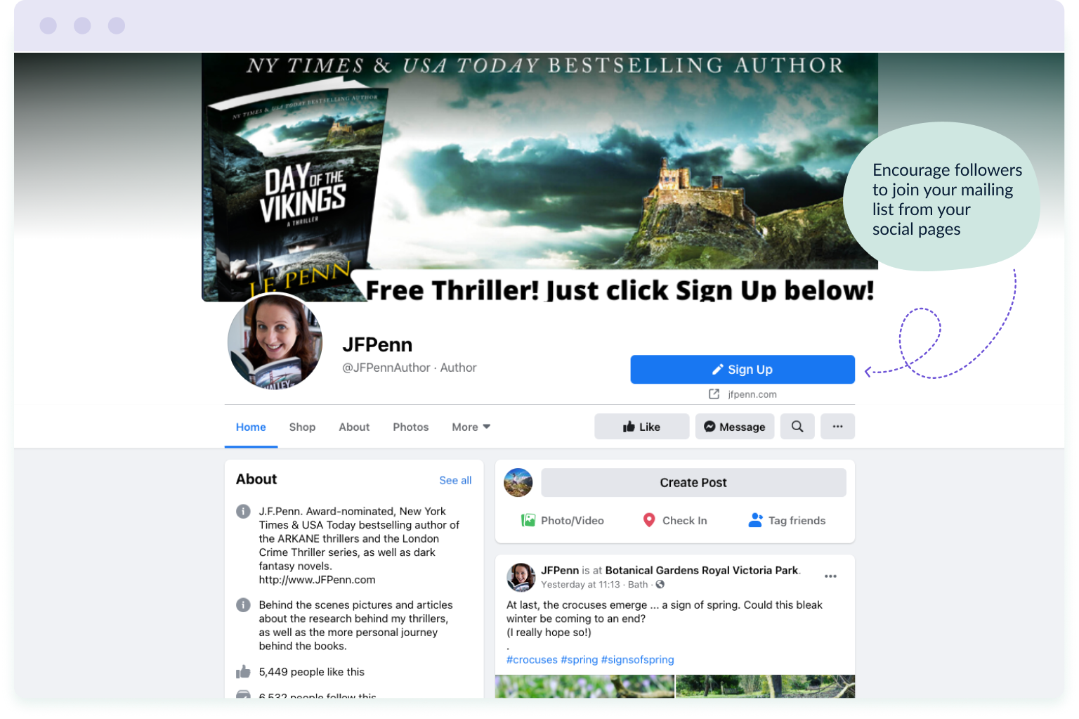 Example of an author driving traffic to her mailing list from her social media pages