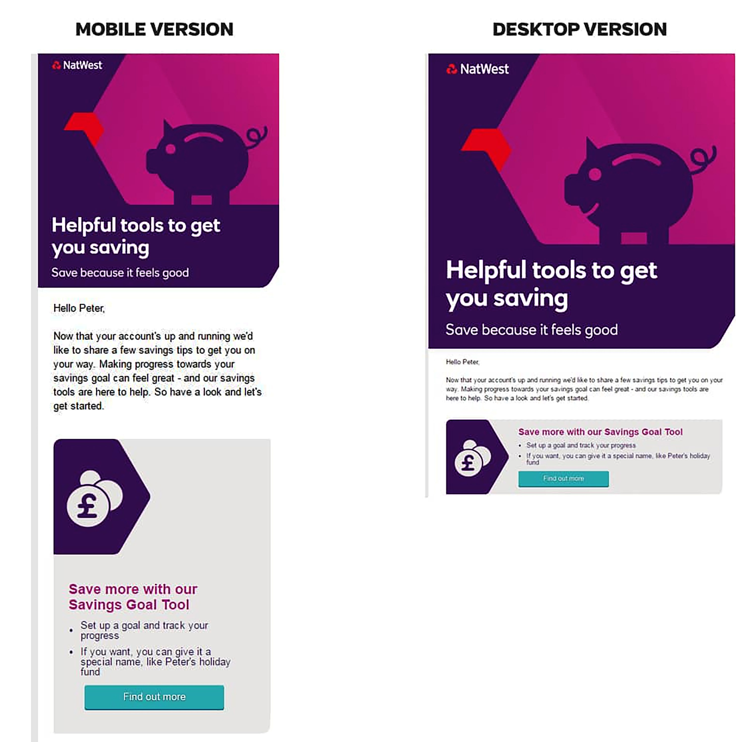 Example of an email optimised for desktop and mobile