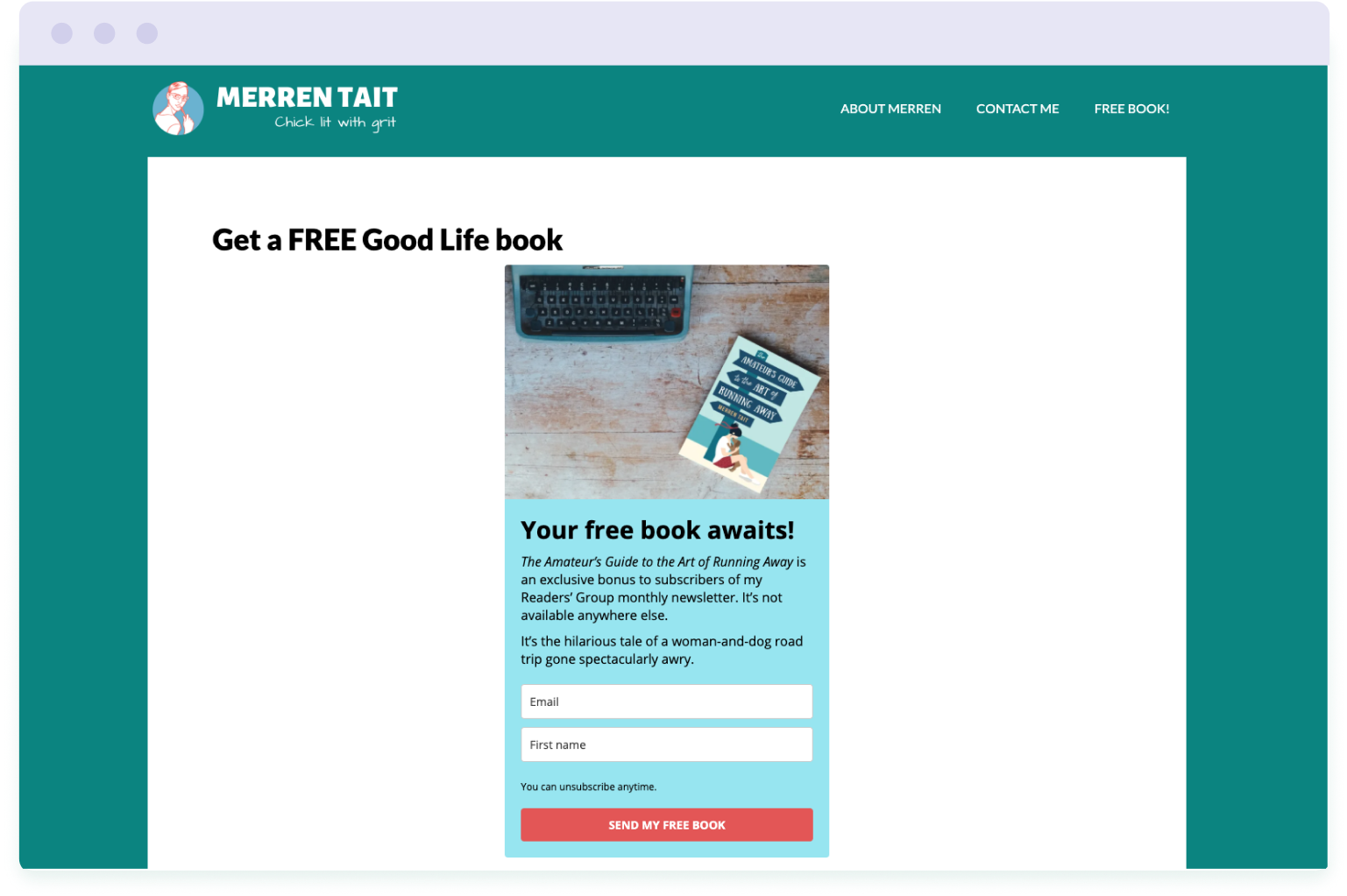 Example of a landing page designed to convert website visitors into subscribers on Merren Tait's author website