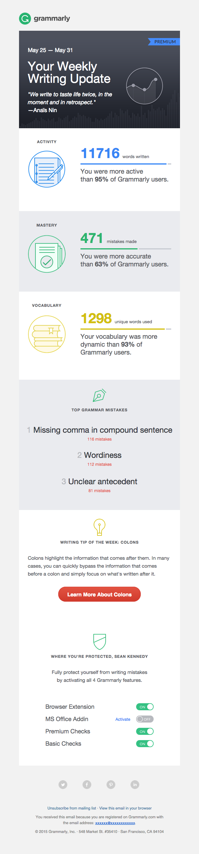 Example from Grammarly of email personalisation, a proven email marketing strategy small businesses can use for growth