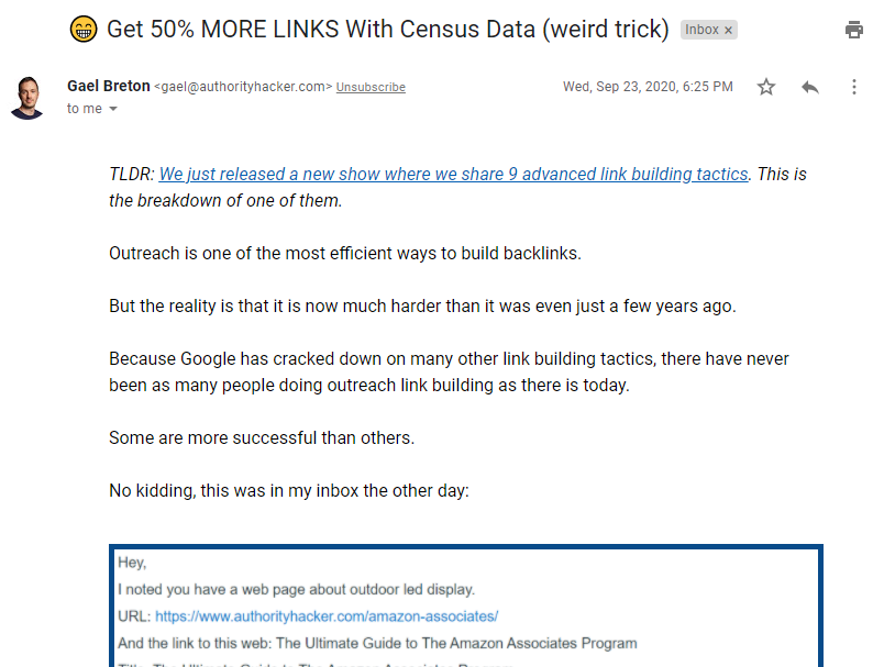 One of the emails used in Authority Hacker's sales launch sequence