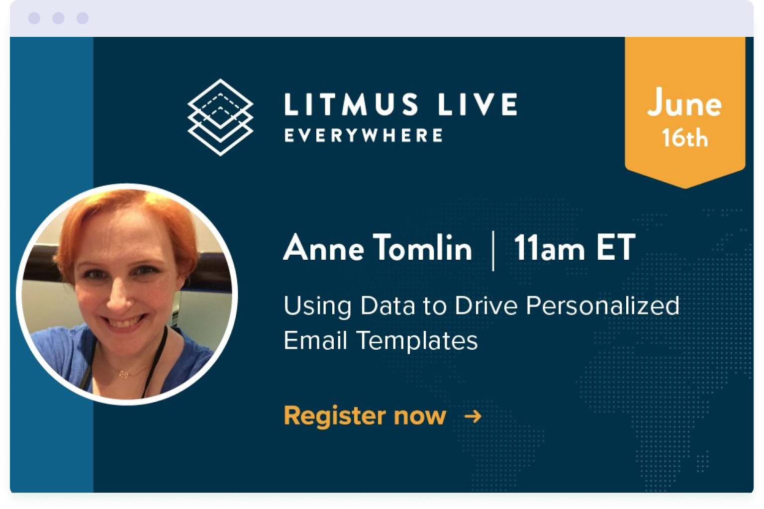 Anne Tomlin regularly talks at industry events, including Litmus Live in 2020