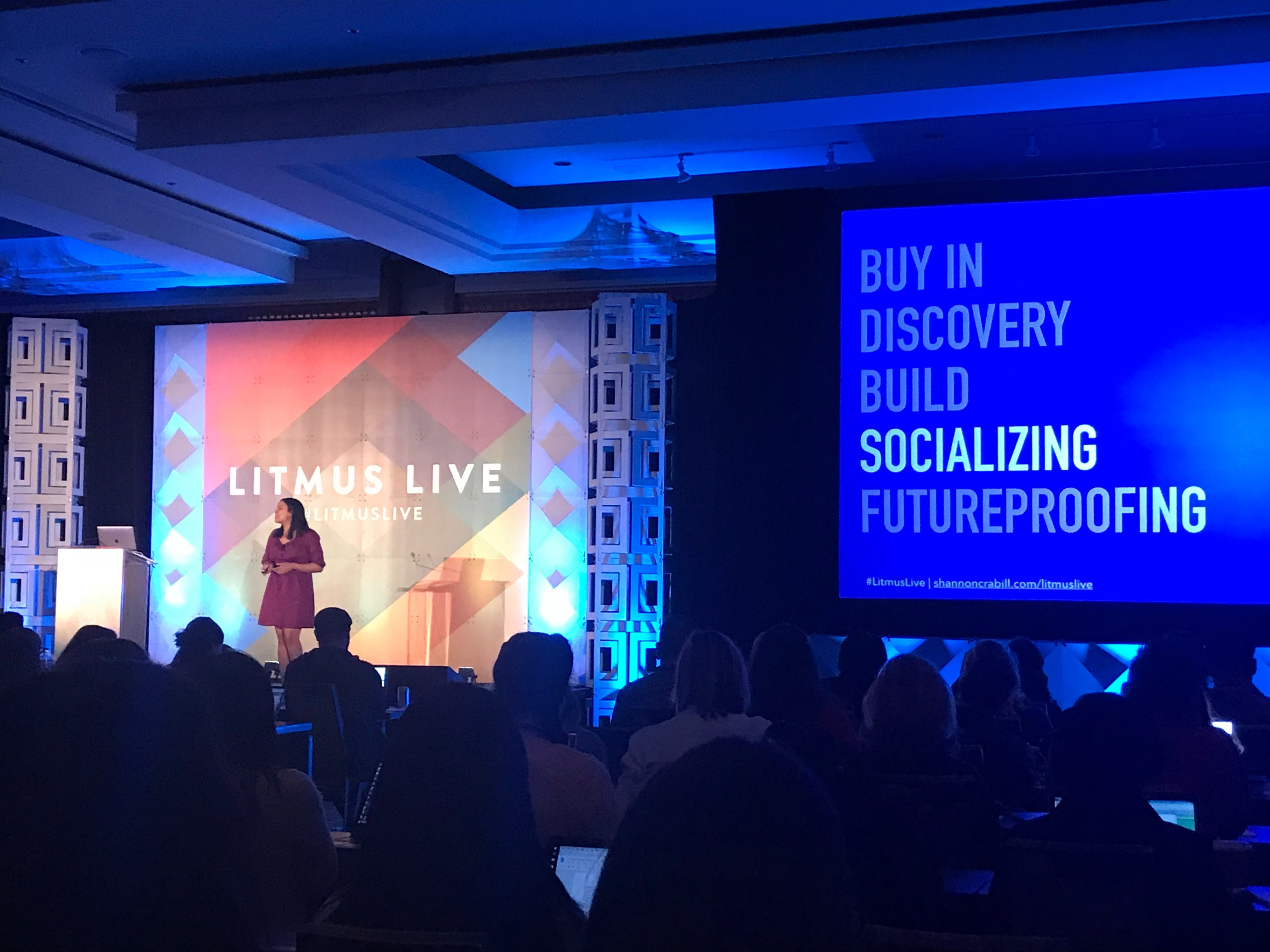 Picture of Shannon Crabill presenting at a Litmus Live event in 2018.