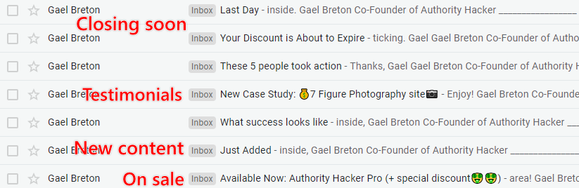 Authority Hacker's email sales launch sequence as seen in the inbox