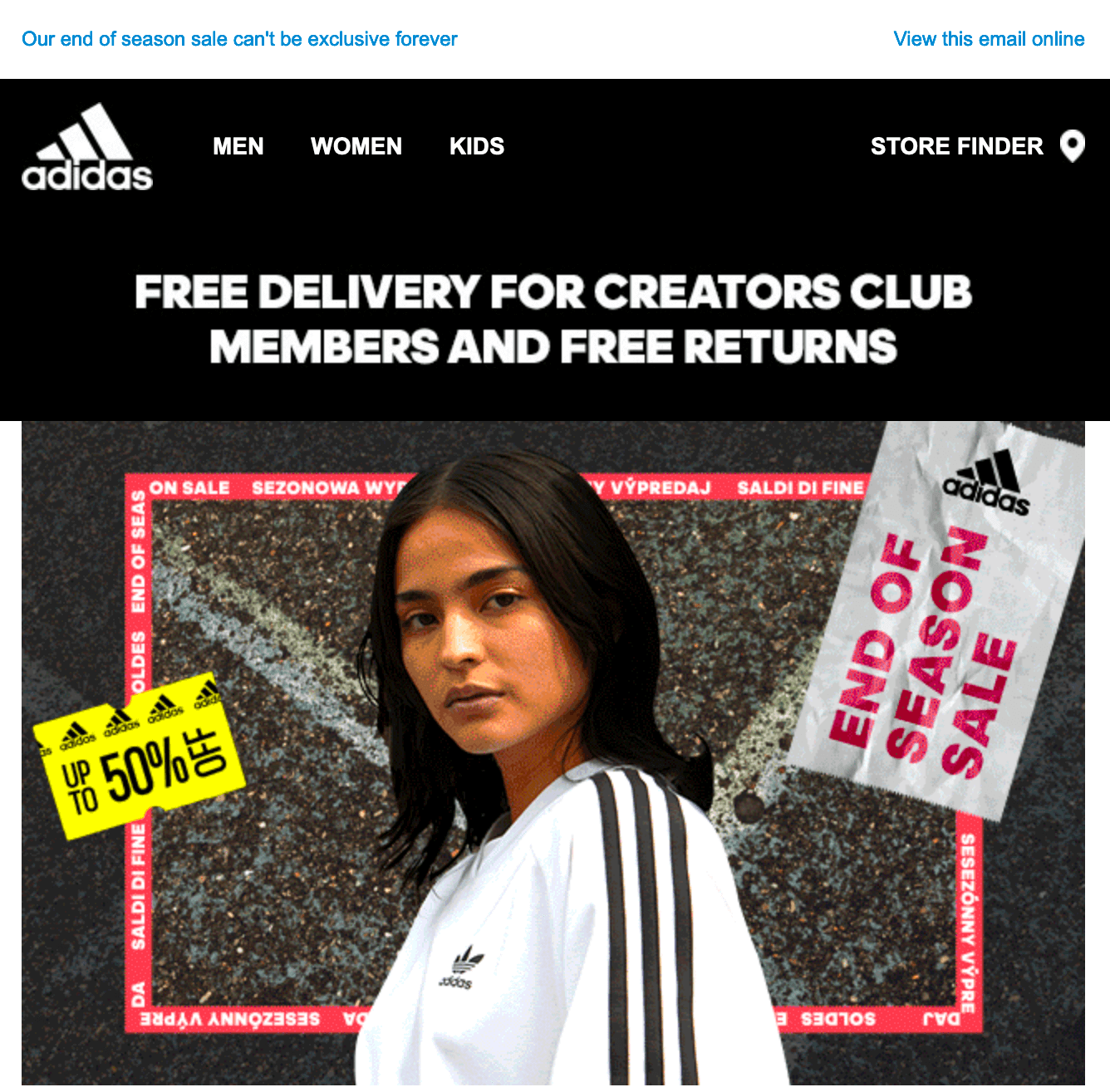 Image of an Adidas email promoting free delivery and returns for their Creators Club members.