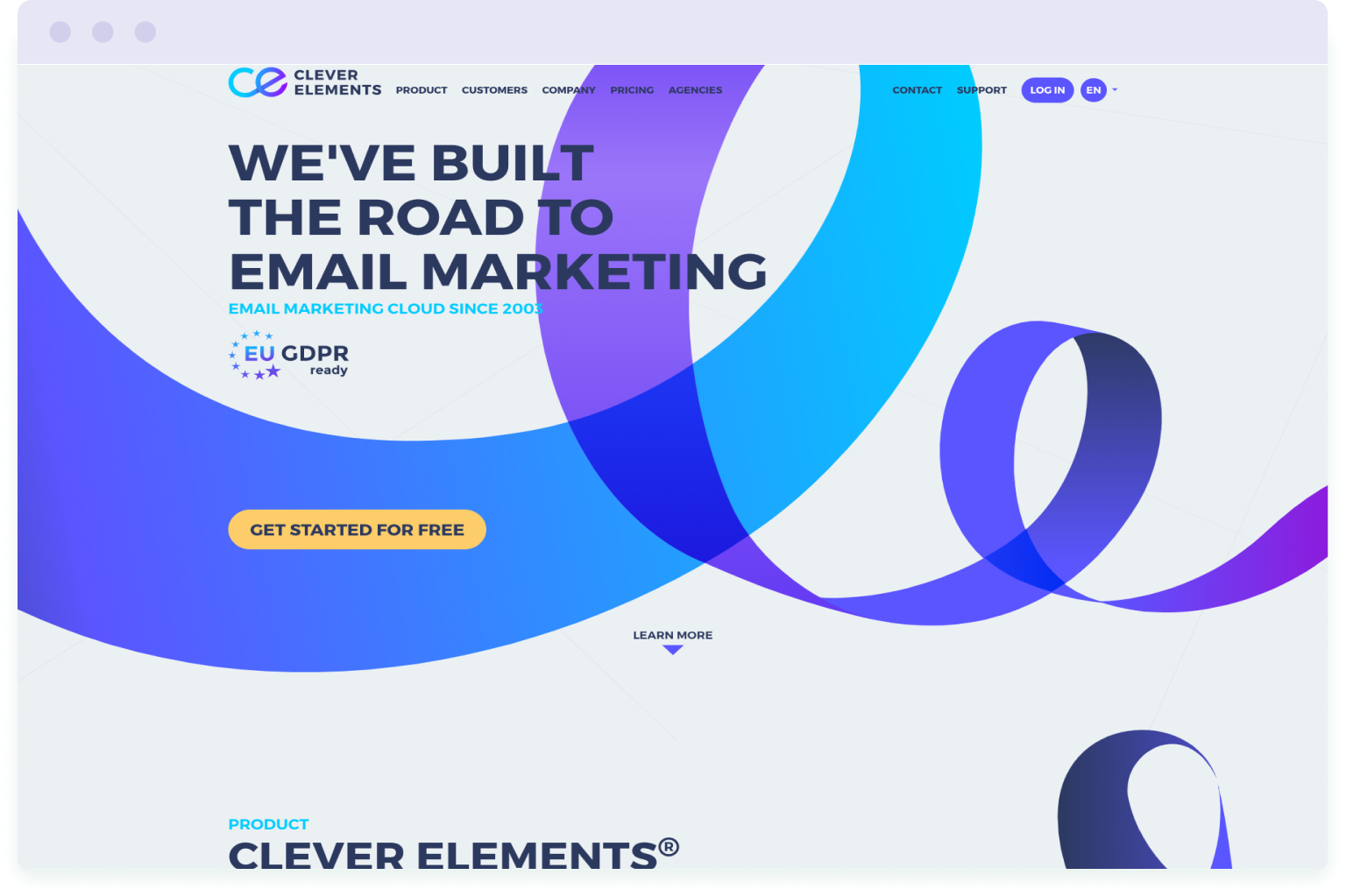 Image of the website homepage of Clever Elements, a cheaper alternative to Mailchimp