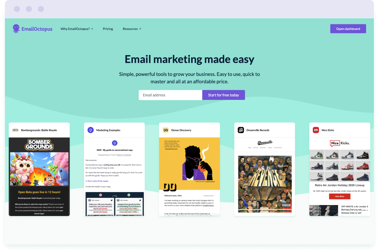 Image of the EmailOctopus website homepage. EmailOctopus is a cheaper alternative to Mailchimp.