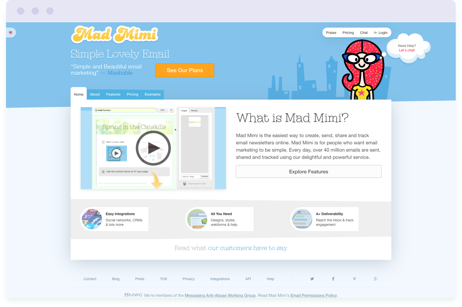 Image of the website homepage of Mad Mimi, a cheaper alternative to Mailchimp.