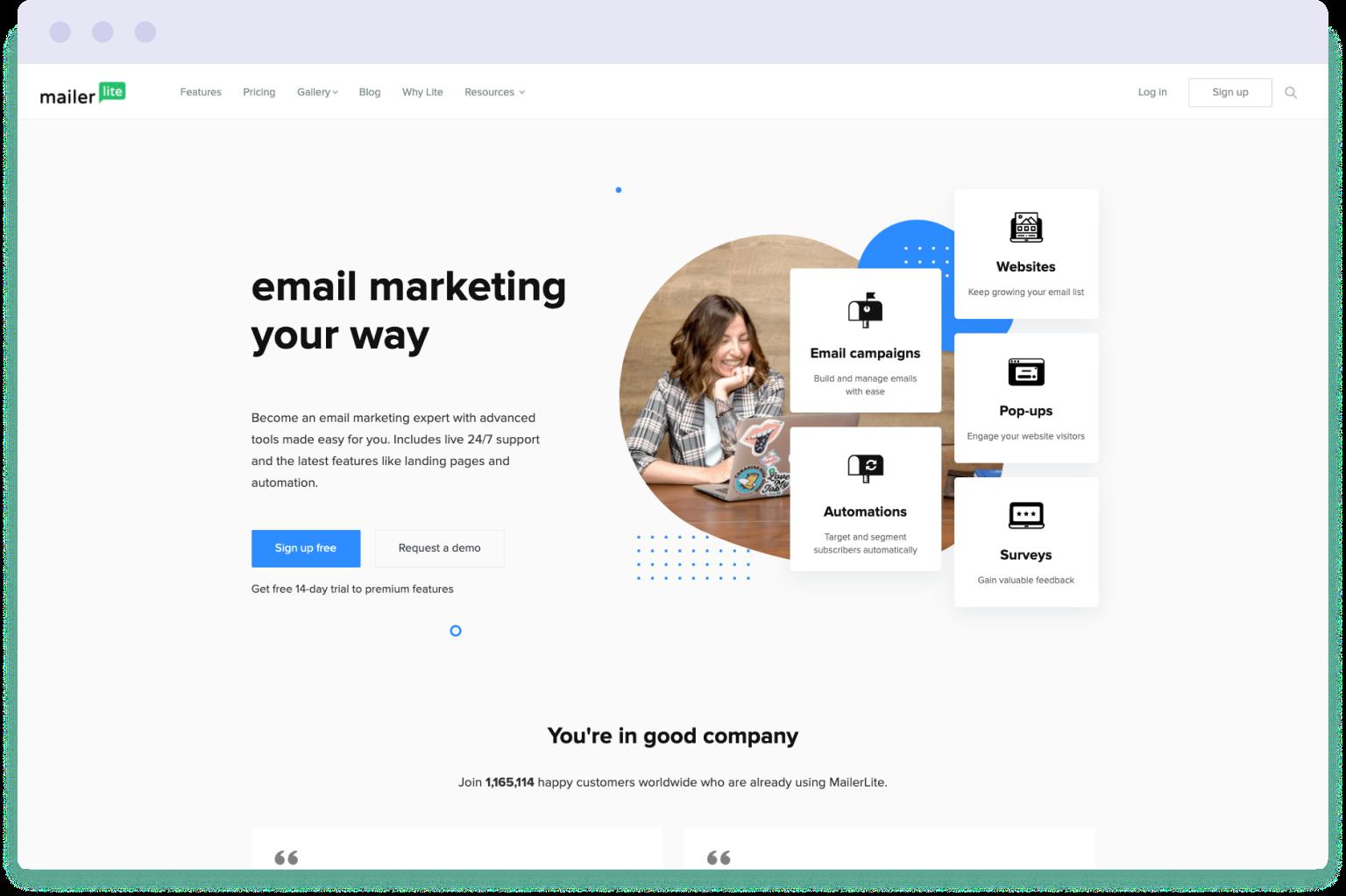 Image of the Mailerlite website homepage. Mailerlite is a cheaper alternative to Mailchimp.