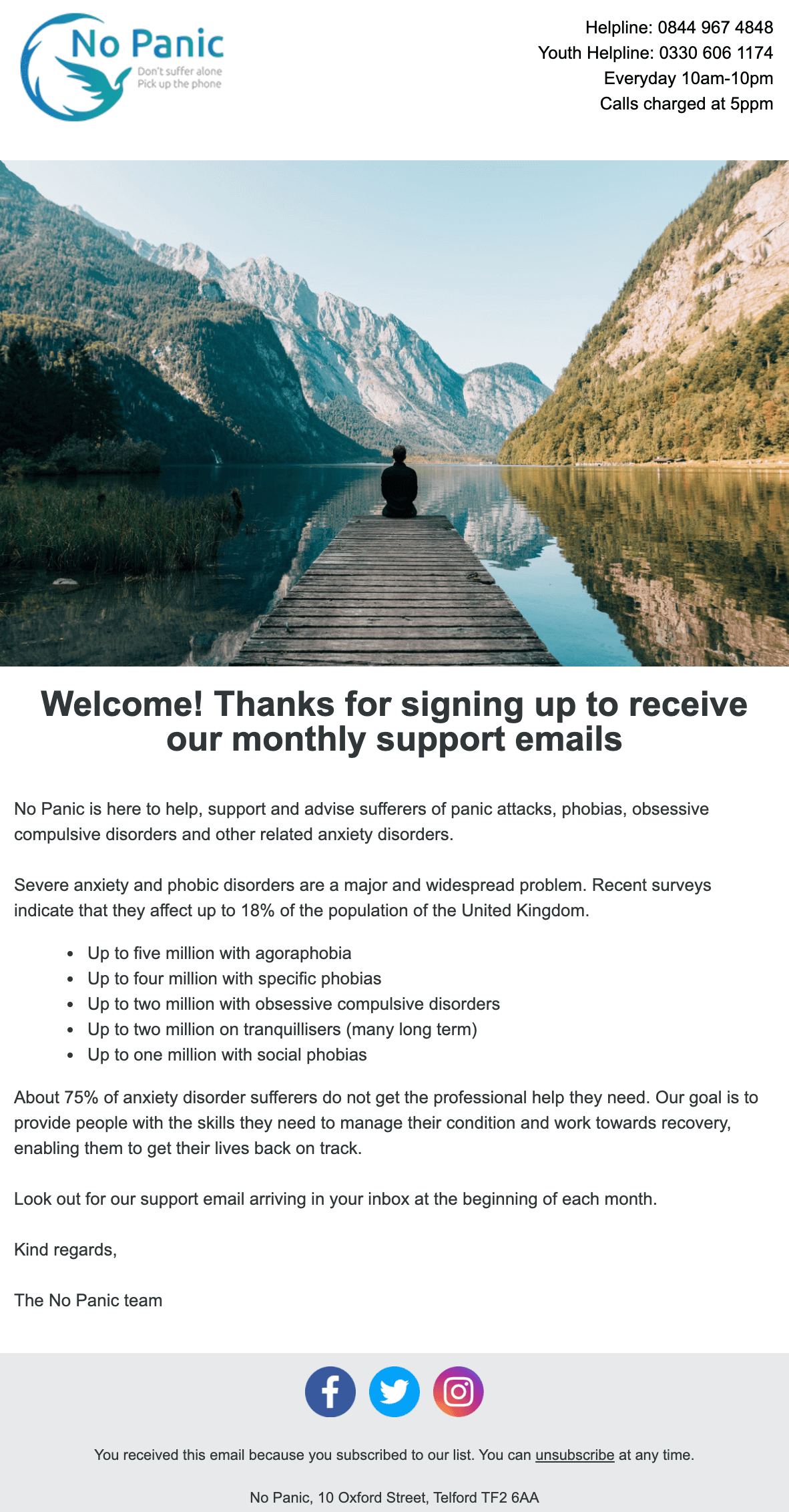 Image of No Panic's welcome email. The email includes statistics on anxiety disorders and the organisation's main goals.