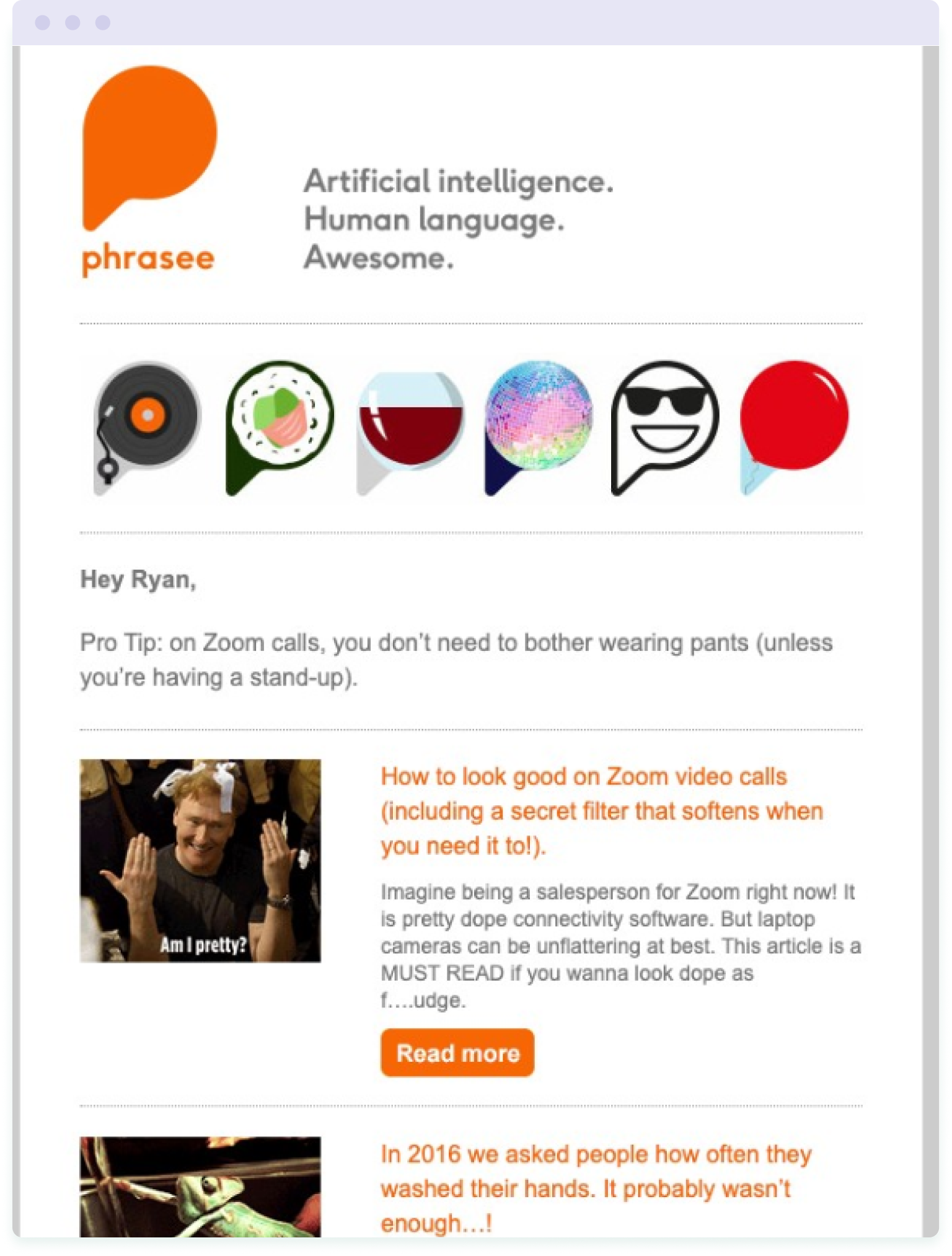 An email from AI software company Phrasee demonstrating how to use humour in email marketing