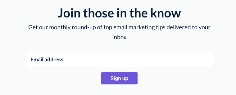 Example of an opt-in bar embedded in the EmailOctopus Blog site