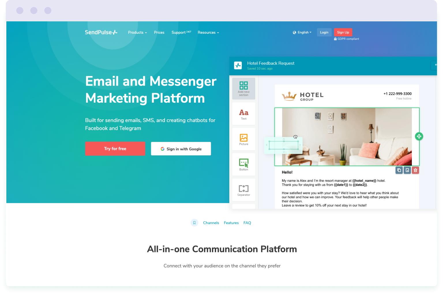 Image of the website homepage for SendPulse, a cheaper alternative to Mailchimp