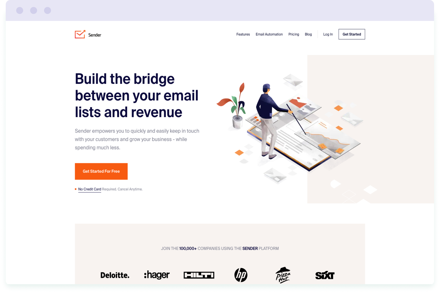 Image of the website homepage for Sender, a cheaper alternative to Mailchimp