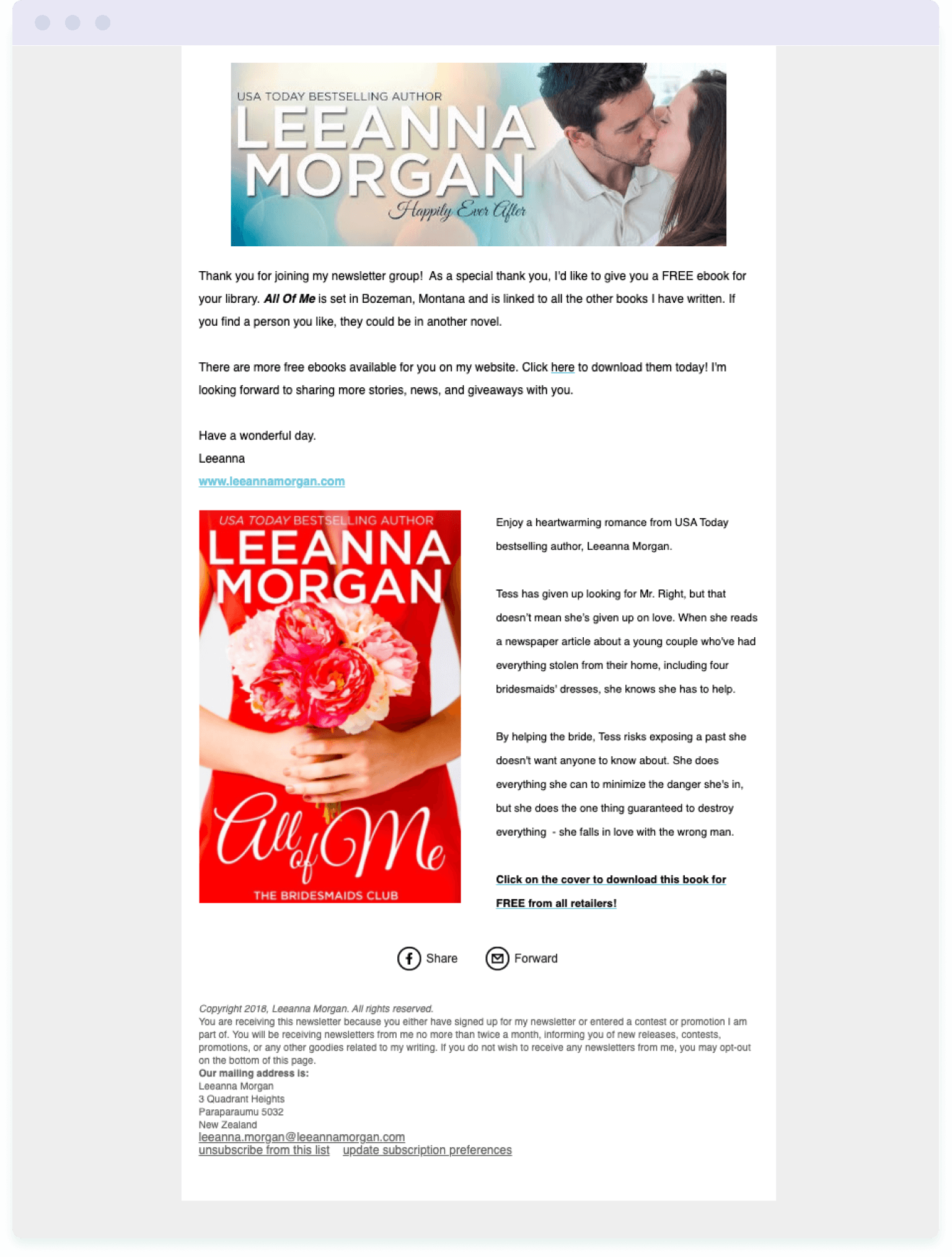 The welcome email sent to new subscribers from author Leanna Morgan – an important step in building an author's email list