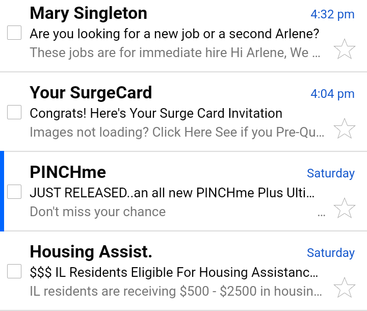 Example of emails found in the spam folder