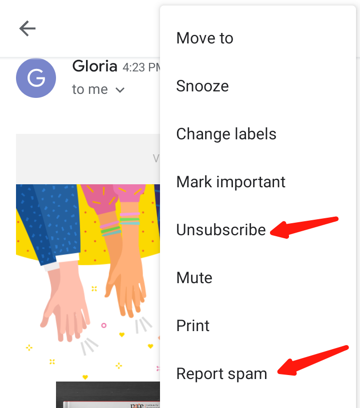 Screenshot of the options available to recipients when they receive an email –they can unsubscribe from within Gmail or report your campaign as spam