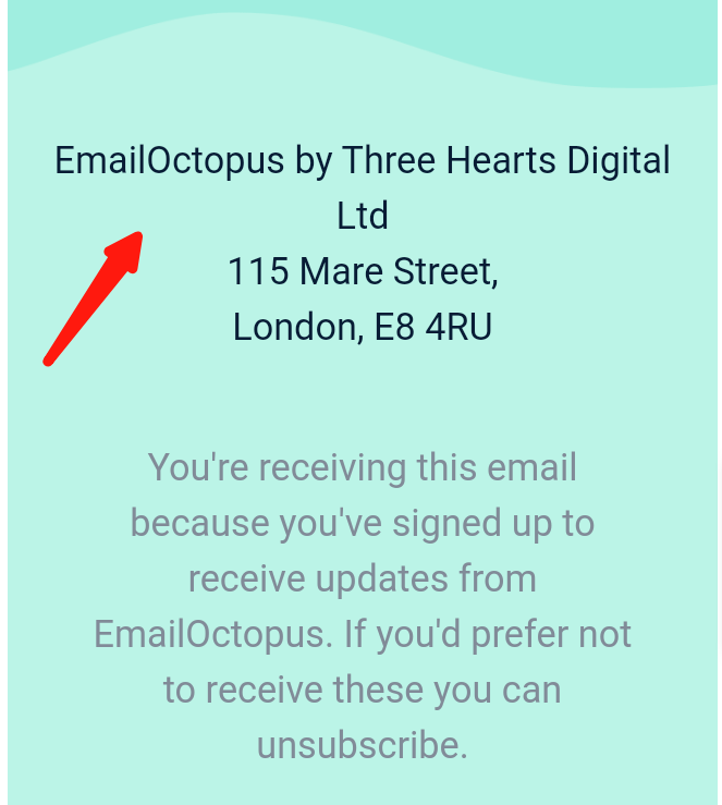 Screenshot of a physical address included in the footer of an email –this best practice is one way you can send bulk emails without spamming