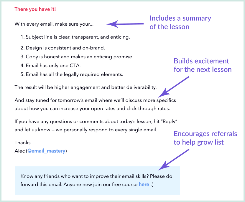 Screenshot showing how Email Mastery ends each lesson in their 7-day email course