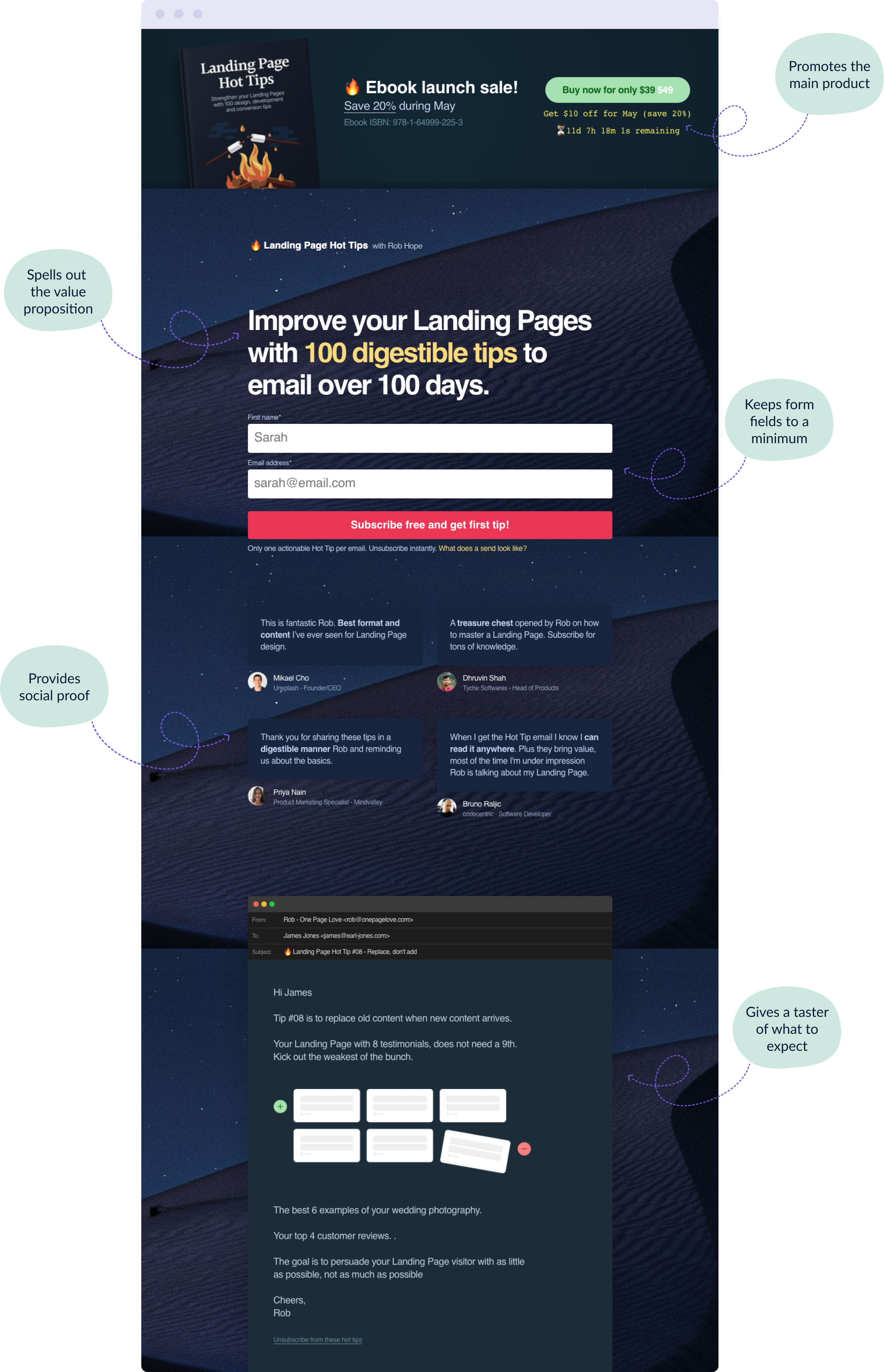 The Landing Page Hot Tips email course sign-up form landing page showing you how it's done