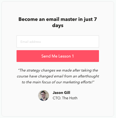 The opt-in form used by EmailMastery for their email course