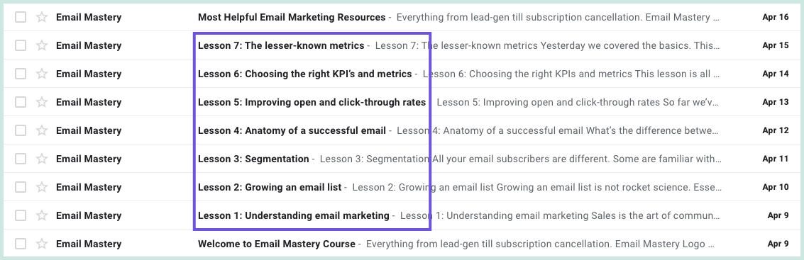 How the Email Mastery email course appears in the inbox with subject lines and sender info