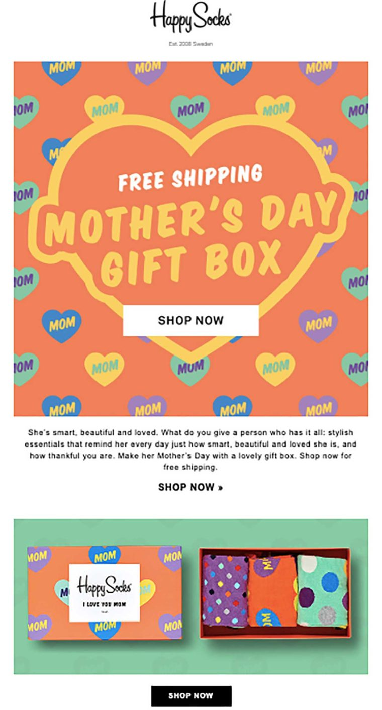 Example of a Mother's Day email marketing campaign from sock brand Happy Socks