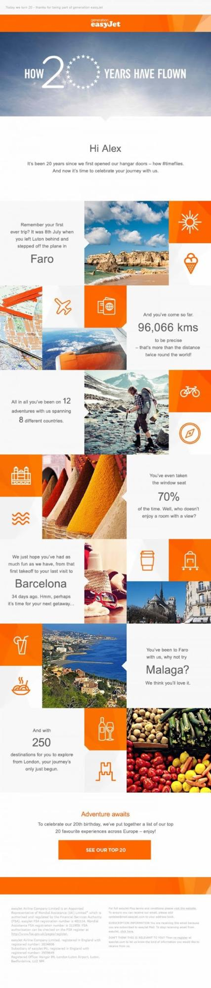 Example of a personalised email campaign sent by easyJet to their customers – enabling personalised messaging is one reason why email marketing is so important