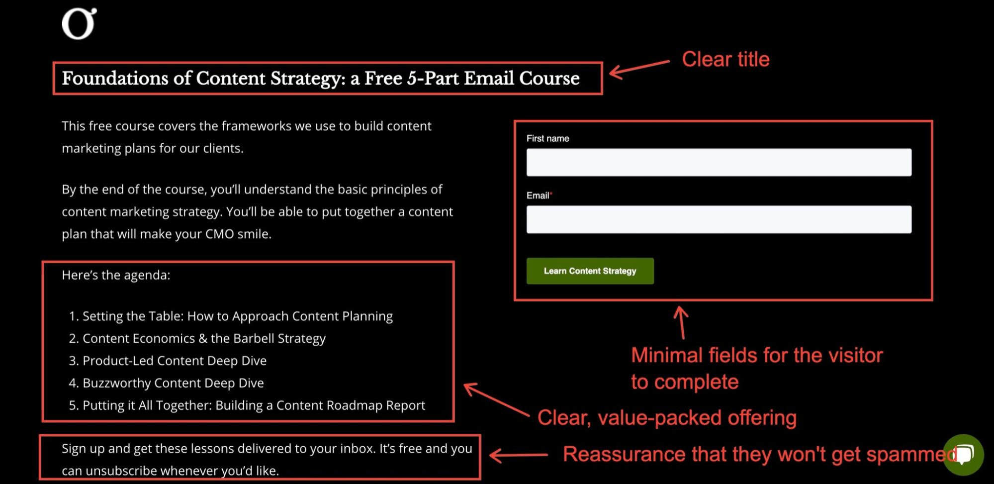 Example of an email course used as a lead magnet