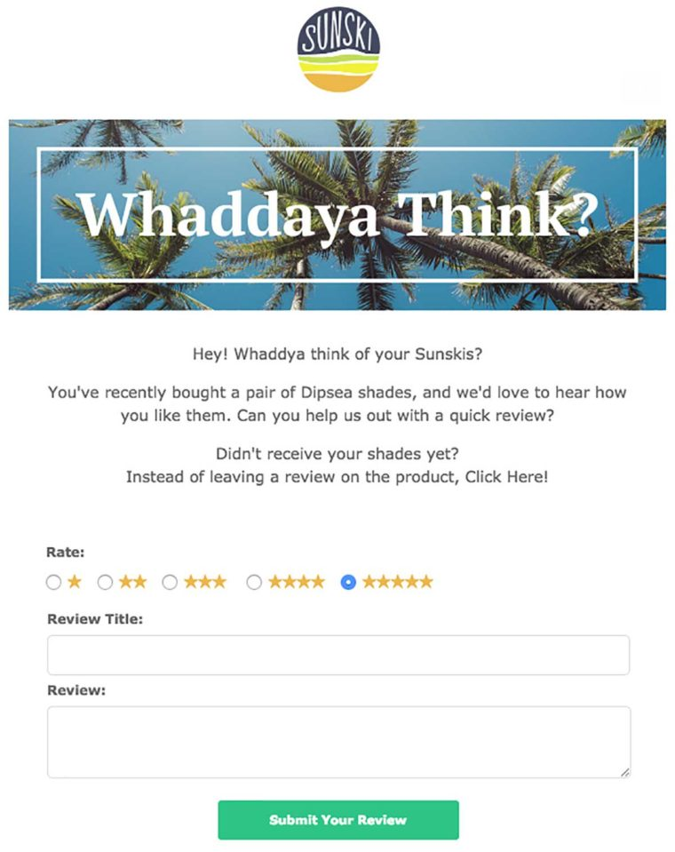 Example of a survey email sent by sunglasses brand Sunski – asking customers for feedback is a good retention strategy