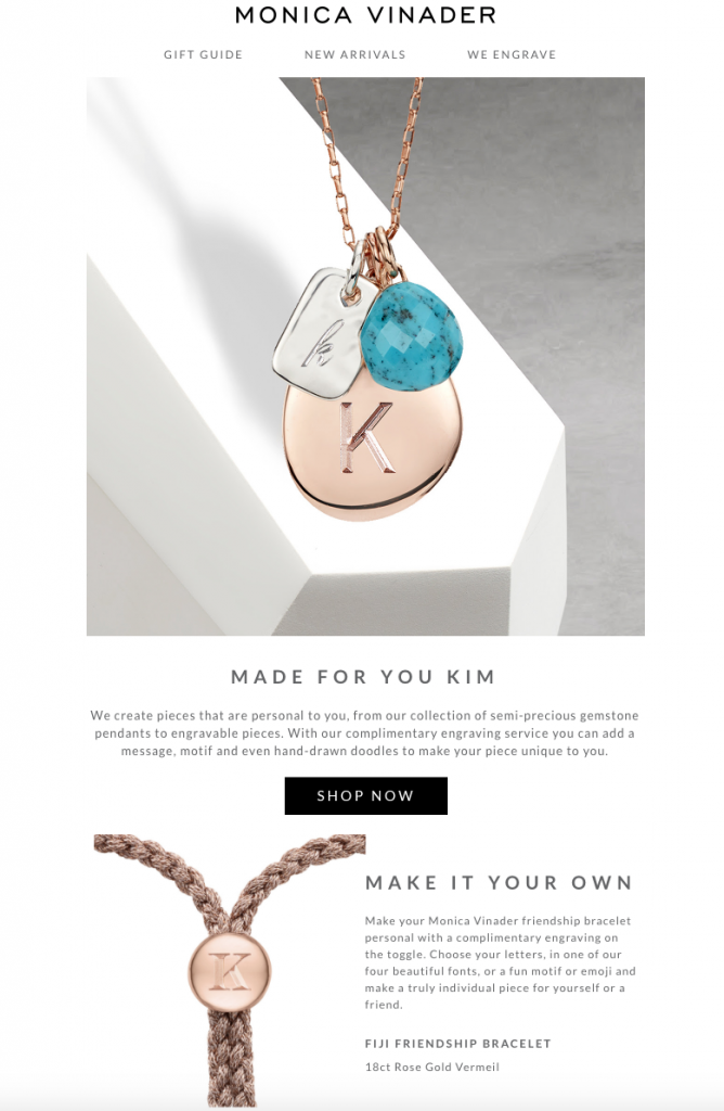 Example of personalisation in an email campaign from jewellery brand Monica Vinader