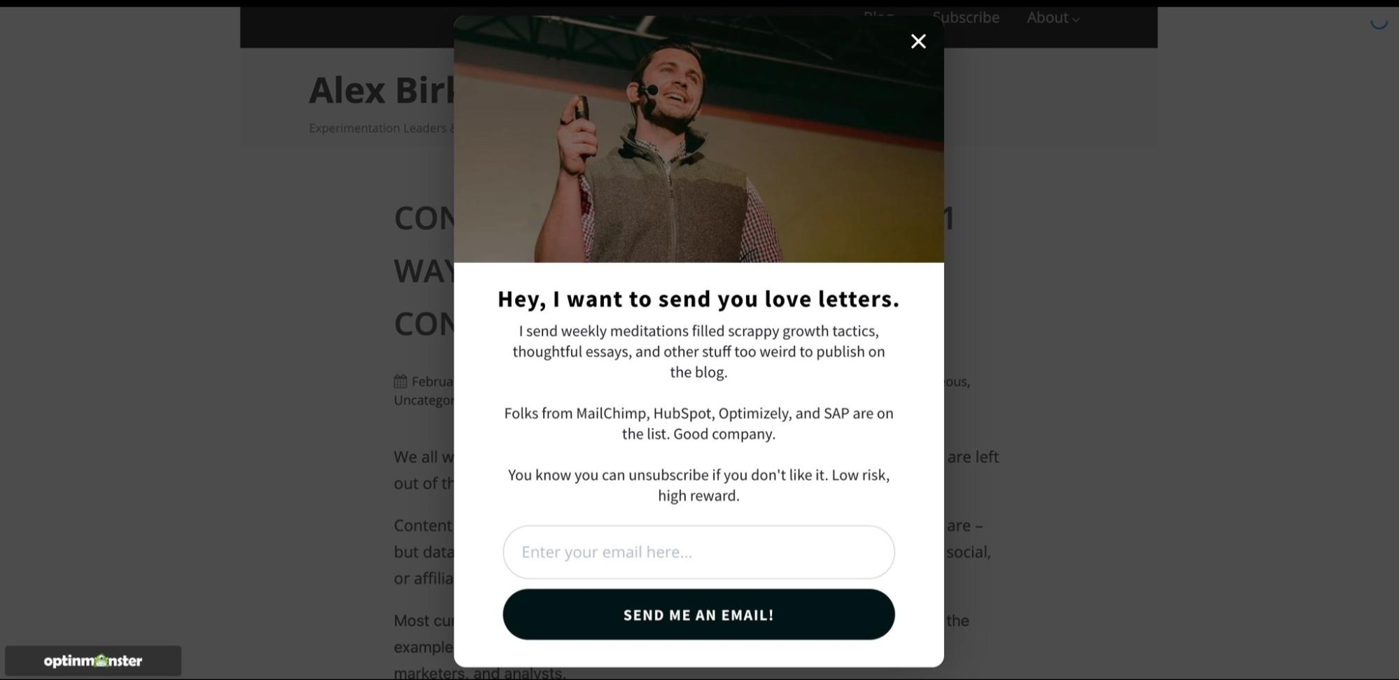 Example of a pop-up form used on Alex Birkett's website as part of his lead capture strategy