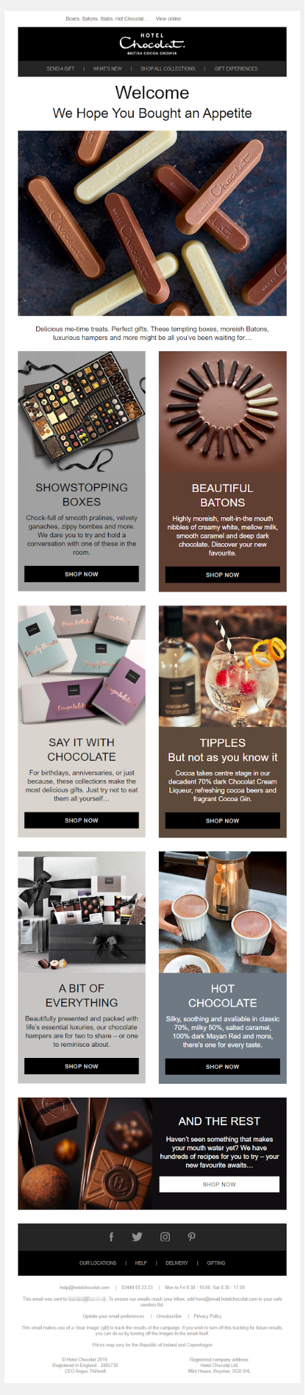 An email sent by Hotel Chocolat as part of a segmentation experiment to drive more website revenue